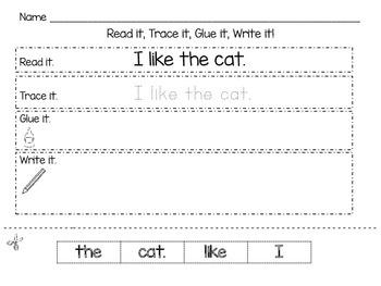 Read it, Trace it, Glue it, Write it Worksheets