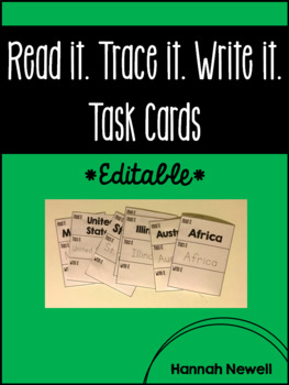 Read it. Trace it. Write it. Task Cards