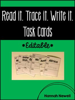 Read it. Trace it. Write it. Task Cards