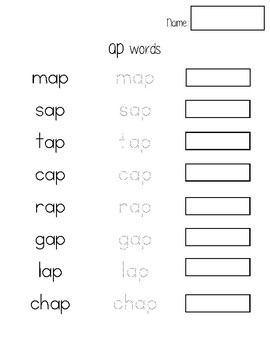 Read it, Trace it, Write it- /ap/ words