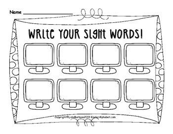 Read it! Type it! Write it! Kindergarten Sight Words