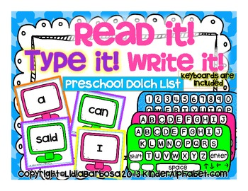 Read it! Type it! Write it! Preschool Sight Words