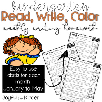 Read it, Write it, Color it - Weekly Writing Homework