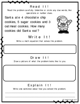 Read it! Write it! Draw it! Solve it! Word Problems Set 4: Christmas Edition