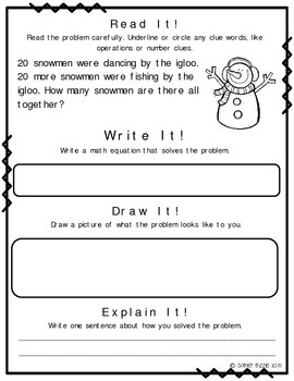 Read it! Write it! Draw it! Solve it! Word Problems Set 5: Winter Edition