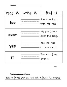 Read it. Write it. Find it: Unit 1-3 First Grade Treasures Word Fluency