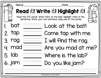 Read it! Write it! Highlight it! {CVC Word and Sight Word Edition}