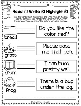 Read it! Write it! Highlight it! {Rhyming Words Edition}