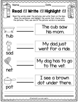 Read it! Write it! Highlight it! {Rhyming Words Edition} Distance Learning