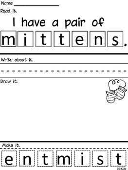 Free... Read it, Write it, Make it! {Mittens} Word Work Activity.
