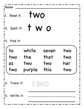 Read it Write it: Number Words