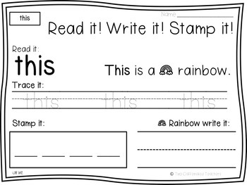 Read it! Write it! Stamp it! Sight Words Bundle  (Sight Word Practice)