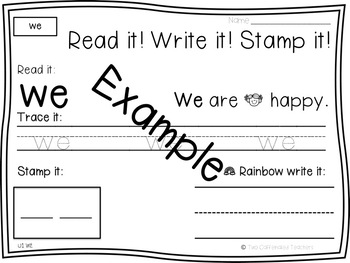 Read it! Write it! Stamp it! Sight Words Kindergarten Reading Wonders Unit 2