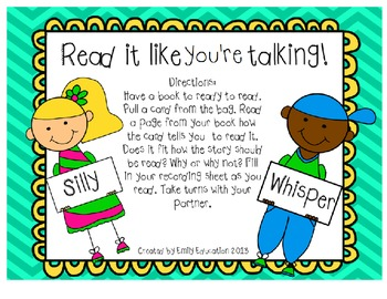 Read it like you're talking! A Fluency Center or group activity.