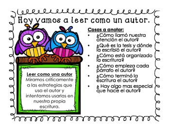 Read like an Author Close Reading Poster in English and Spanish