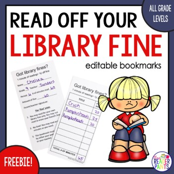 Read-off Your Library Fine! (Bookmark Reading Log)