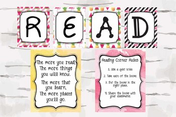 Read sign, Reading Corner Rules and Dr. Seuss Quote, Tropical Theme