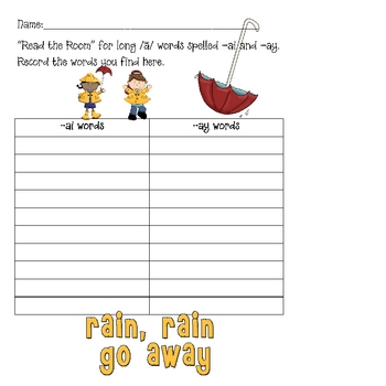 "Read the Room Activity Pack: ""Rain, Rain, Go Away"" Long A Pack"