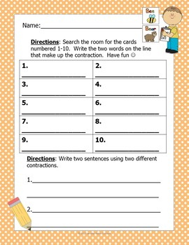 FREE Write the Room- Contractions (Minimal Prep Work)