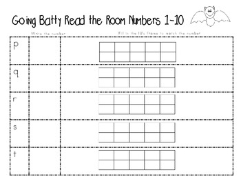 Read the Room-Going Batty- Numbers 1-20 and tens frames Read the Room