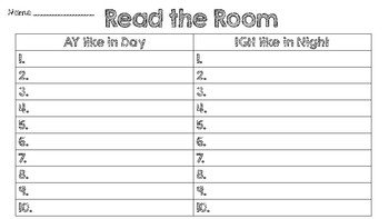Read the Room Long A and Long I