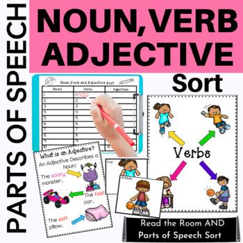 Parts of Speech: Noun,Verb & Adjective Sort Fun for 1st Grade
