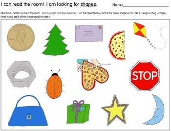 Read the Room:  SHAPES!  Differentiated for Early Learners