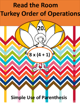 Read the Room Thanksgiving Math Order of Operations (Parenthesis)
