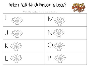 Read the Room--Turkey Talk-Which Number is Less? 0-20