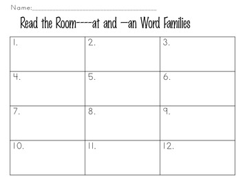 Read the Room -at and -an word families