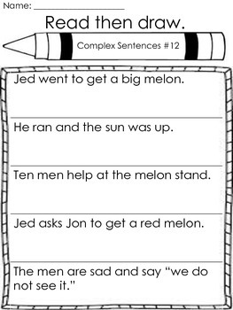 Read then draw, complex sentences