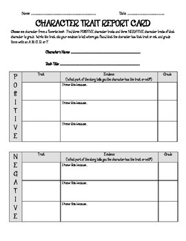 Read to Self Activity - Character Trait Report Card