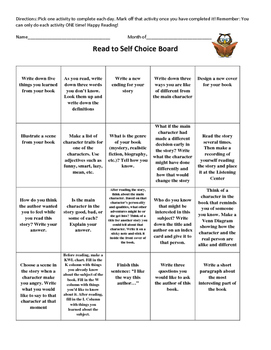 Read to Self Choice Board (Daily 5)