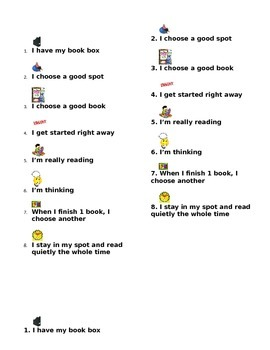Read to Self Expectations Bookmark