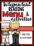 Read to self / independent reading - response menu & activities (no prep)