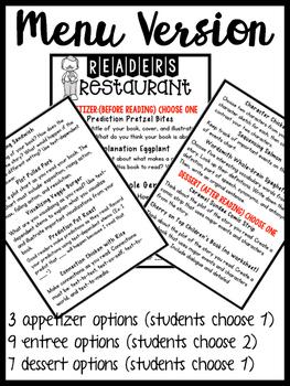 Read to self / independent reading - response menu & activities (no prep)