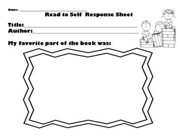 Read to Self Response Sheet for Primary Grades