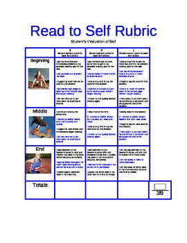 Read to Self Student Evaluation Rubric