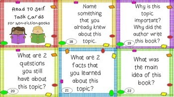 Read to Self Task Cards - EDITABLE - Great for Daily 5 and Centers