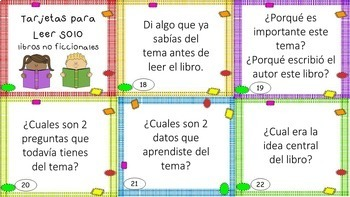 Read to Self Task Cards in SPANISH - EDITABLE - Great for Daily 5 and Centers