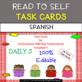Read to Self Task Cards in SPANISH - EDITABLE - Great for