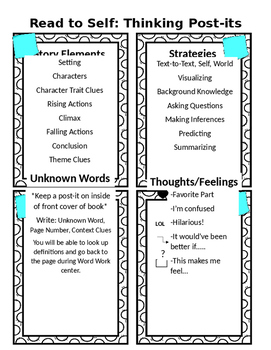 Read to Self Thinking Post its Center