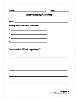 Read to Self and Buddy Reading Response