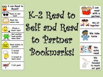 Read to Self and Read to Partner Bookmarks