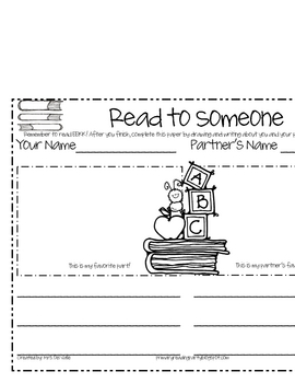 Read to Someone Sheet