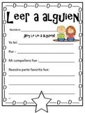 Read to someone response sheet (Spanish)
