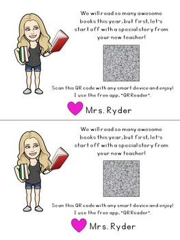 Read to your Class Before School Starts Bitmoji & QR Code Printable