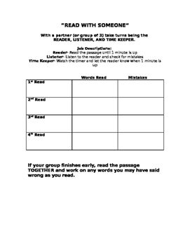 Read with Someone Center-Fluency Chart