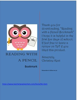 Read with a Pencil Bookmark