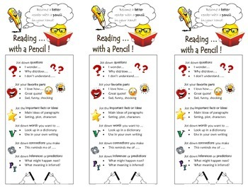 Read with a Pencil Bookmark & Notes pages